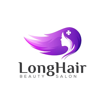 Beauty long hair logo, woman hair salon gradient logo design