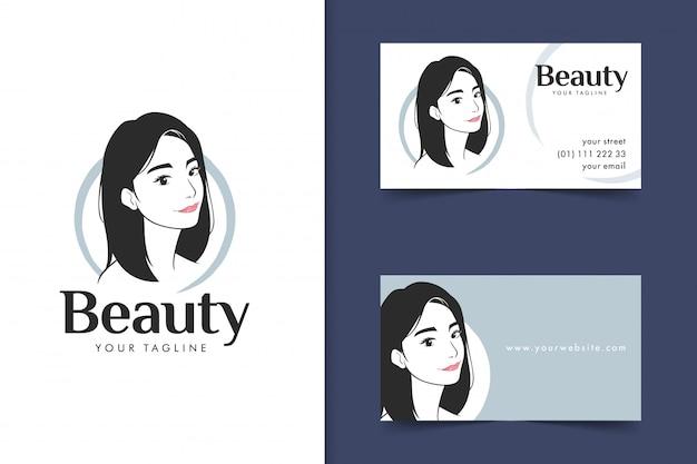 Beauty long hair women logo with brand identity