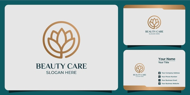 Набор красоты цветок лотоса логотип и визитная карточка