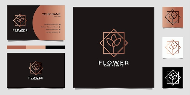 Beauty lotus line art logo  and business card
