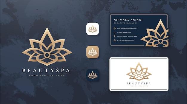 Красота лотоса логотип и дизайн визитной карточки