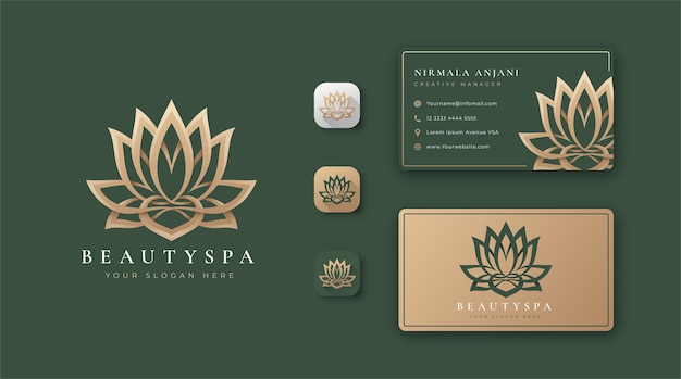 Beauty lotus logo and business card design