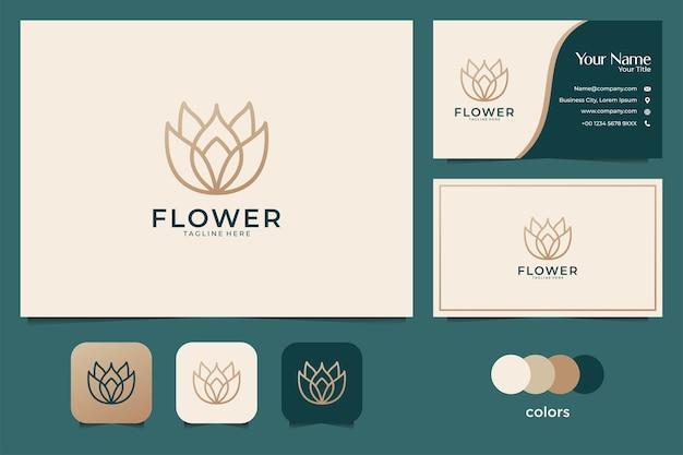 Дизайн логотипа лотоса красоты и визитная карточка
