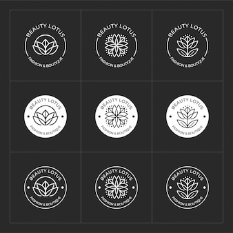 美容蓮のロゴデザインセット、美容サロン、スパ、ヨガ、ファッションに使用できます。
