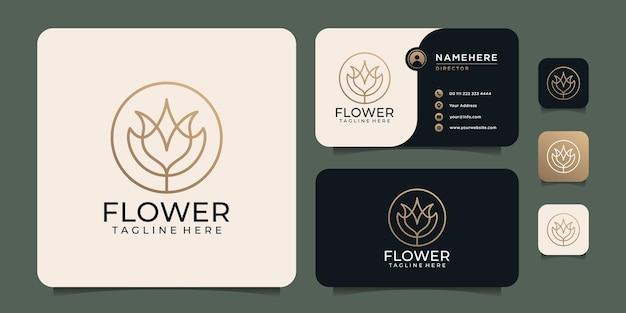Красота роскошная монограмма женская линия цветок логотип спа элементы лотоса Premium векторы