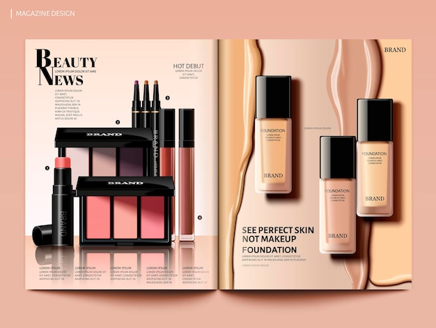 Beauty magazine design, foundation with creamy liquid and eyeshadow set in 3d illustration, magazine or catalog brochure template