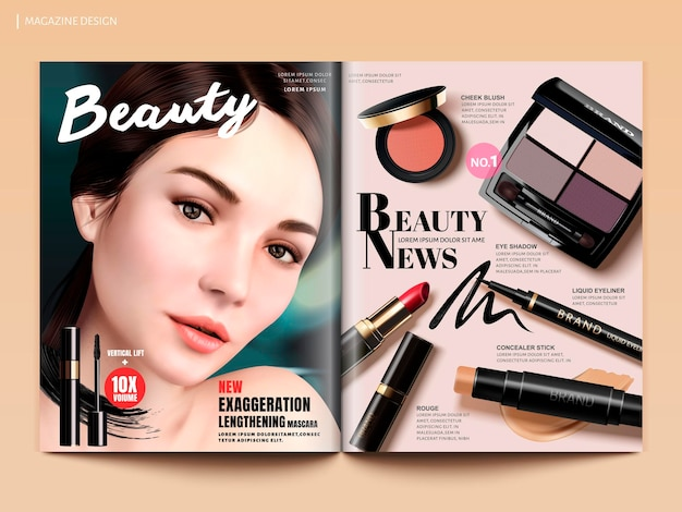 Beauty magazine design, set of makeup products with charming model portrait in 3d illustration, magazine or catalog brochure template