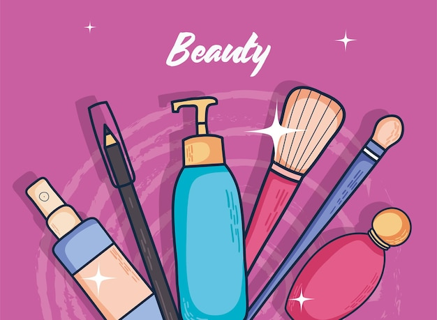 Beauty make up symbol set