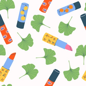 Beauty makeup accessories seamless pattern on white.