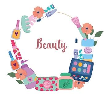 美容メイク化粧品、漫画スタイルのベクトルイラストのファッション