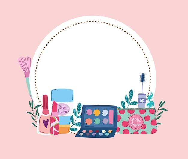 Beauty makeup eyeshadow palette cream mascara and nail polish floral badge vector illustration