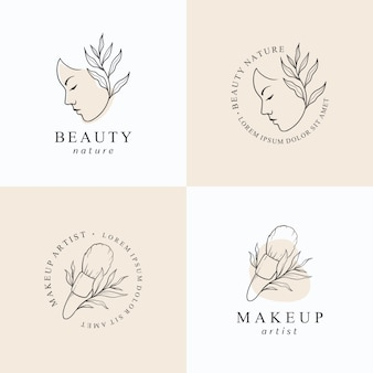Beauty makeup logo design template.
