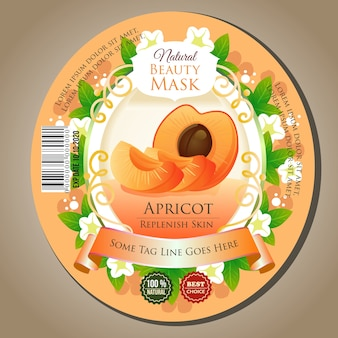 Beauty mask apricot label sticker