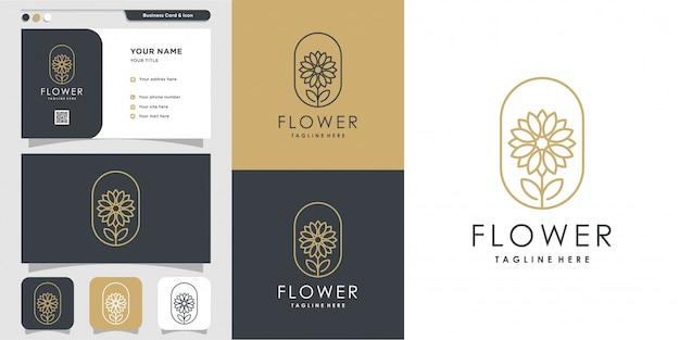 Beauty minimalist flower logo and business card design template