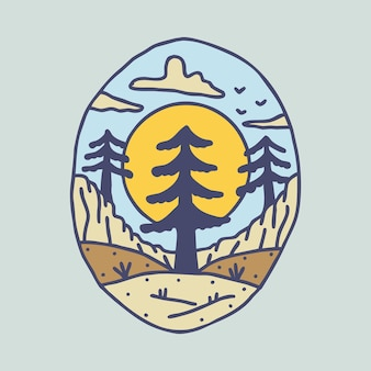 Красота природа и дерево графическая иллюстрация искусство дизайн футболки