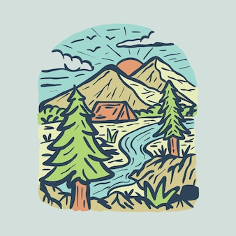 Beauty nature and camping with river graphic illustration art t-shirt design