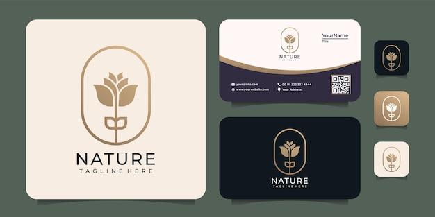 Красота природы цветок логотип золото концепция