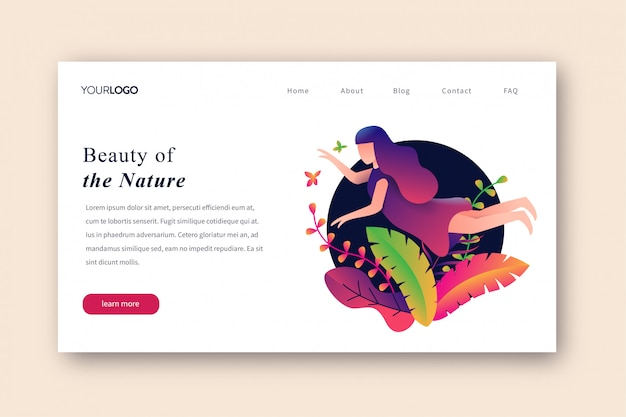Beauty of the nature landing page