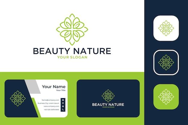 Красота природа лист линия искусство зеленый дизайн логотипа и визитная карточка