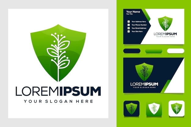 Beauty nature leaf and shield whit line logo design and business card