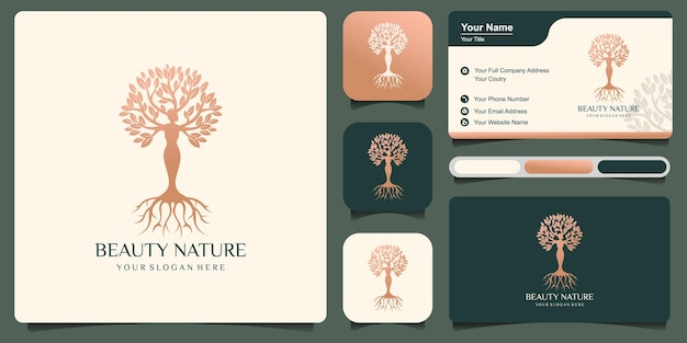 Beauty nature logo with combination of beautiful woman tree with business card . premium vector art style premium vector