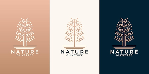 あなたのビジネスサロン、化粧品、スパ、健康のために設定された美容自然オリーブの木のロゴデザイン