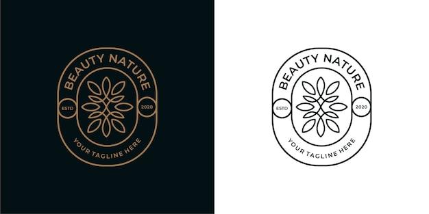 美しさ自然ヴィンテージラインアートロゴデザイン