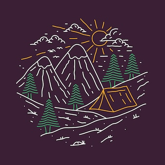 Beauty nature with camping adventure line graphic illustration art t-shirt design