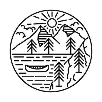 강과 산 라인 그래픽 일러스트 아트 티셔츠 디자인으로 아름다움 자연