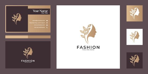 美しさの自然の女性のロゴのデザインと名刺。ファッション、スパ、サロンのロゴに最適