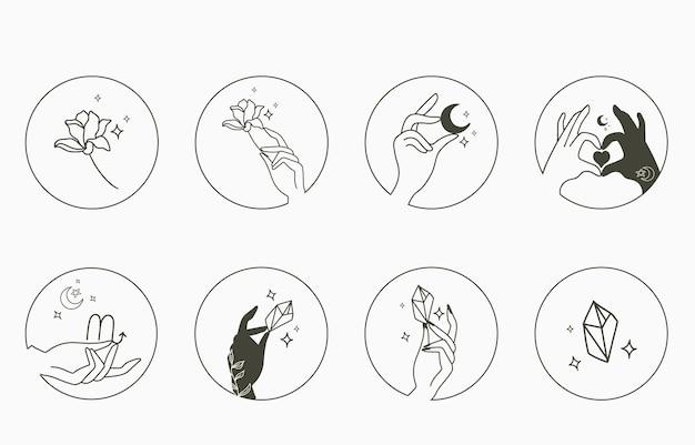 Beauty occult collection with hand, geometric, crystal, moon, flower, star. Premium Vector