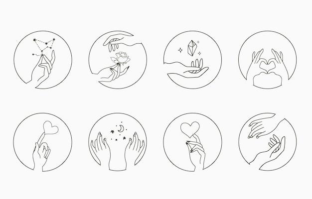 Оккультная коллекция красоты рукой, геометрической, цветком. векторная иллюстрация для значка, стикера, печати и татуировки