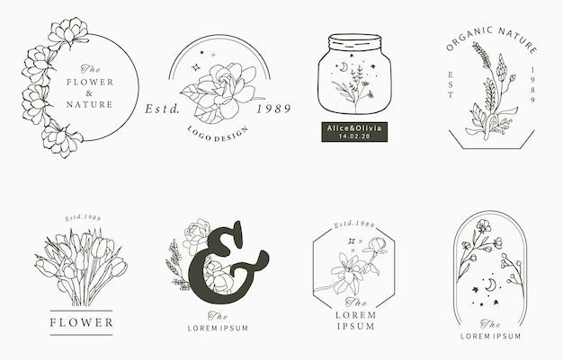 기하학적, 목련, 라벤더, 달, 별, 꽃과 아름다움 신비로운 로고 컬렉션.