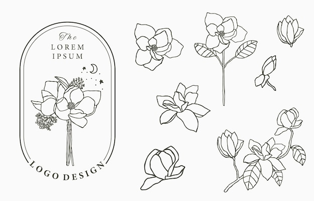 Beauty occult logo collection with geometric,magnolia,moon,star,flower.