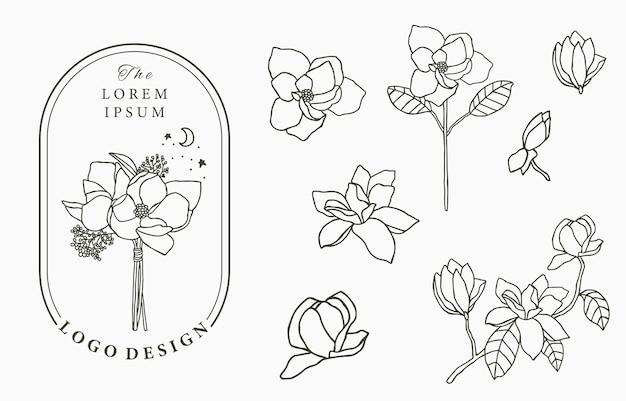 幾何学、マグノリア、月、星、花の美しさオカルトロゴコレクション。