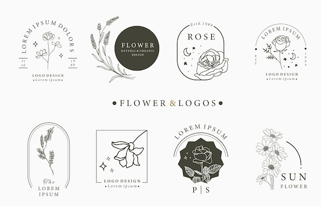 Коллекция оккультных логотипов красоты с геометрическими фигурами, розой, луной, звездой, цветком.