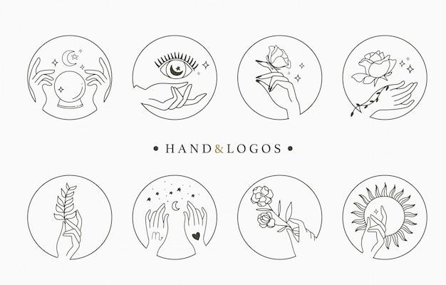 手、幾何学、結晶、月、目、星の美しさの神秘的なロゴのコレクション。アイコン、ロゴ、ステッカー、印刷可能、タトゥーのイラスト