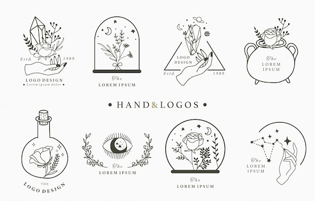 Beauty occult logo collection with hand, geometric, crystal, moon, eye, star.