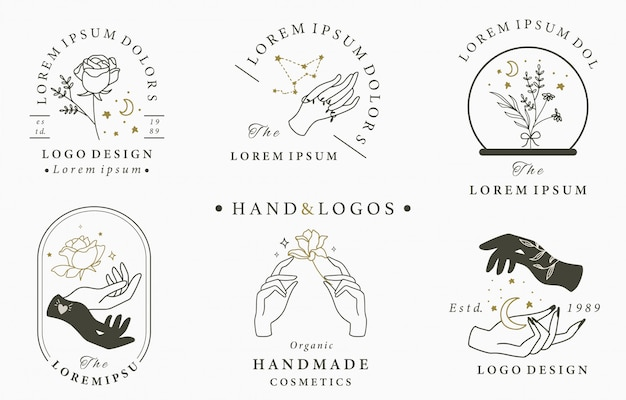 Beauty occult logo collection with hand,geometric,crystal,moon,rose. illustration for icon,logo,sticker,printable and tattoo
