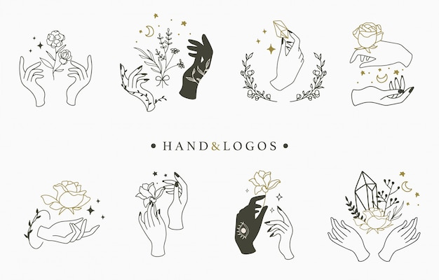 Beauty occult logo collection with hand,geometric,crystal,moon,rose.