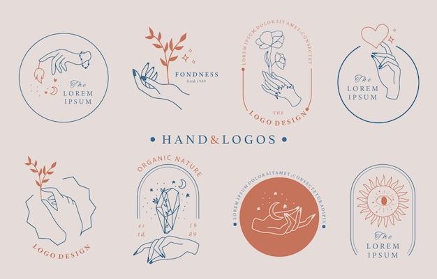 手、幾何学、バラ、月、星、花と美のオカルトロゴコレクション。アイコン、ロゴ、ステッカー、印刷可能なタトゥーのベクトル図
