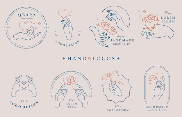 Beauty occult logo collection with hand,geometric,rose,moon,star,flower.