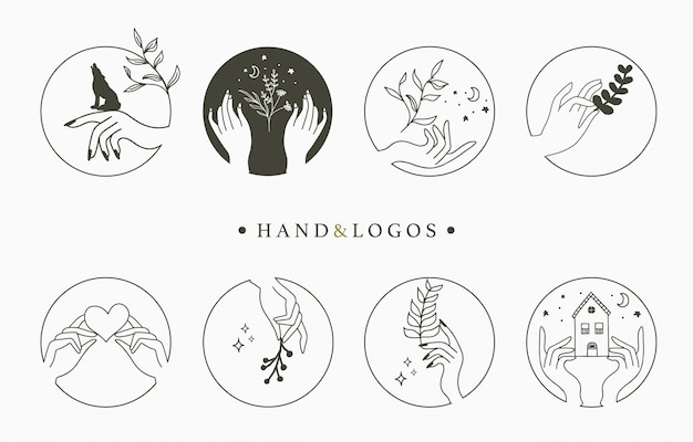손, 마음, 꽃, 원에 집 아름다움 신비로운 로고 컬렉션.