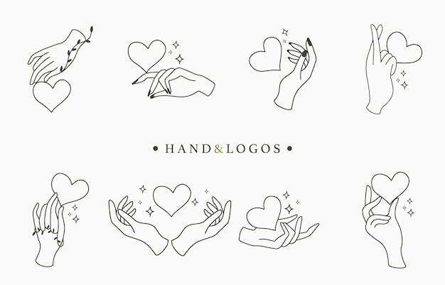 손, 마음으로 아름다움 신비로운 로고 컬렉션입니다. 아이콘, 로고, 스티커, 인쇄용 및 문신 그림