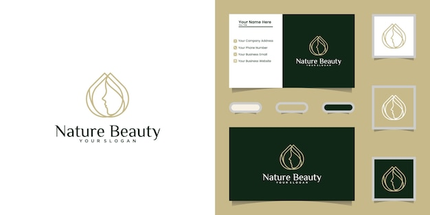 Beauty oil and female face logo  line art template and business card