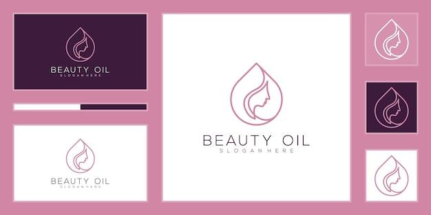美容オイルのロゴのデザインテンプレート。美容オイルのコンセプト。