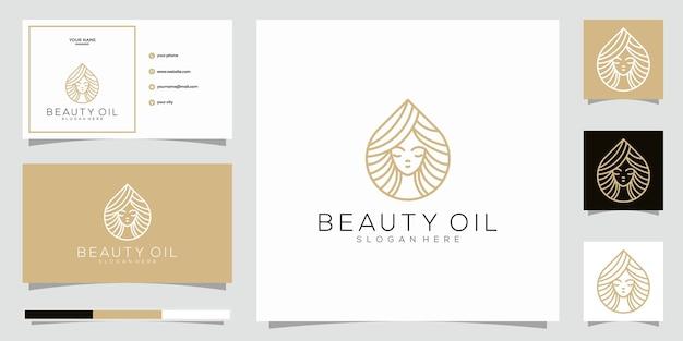 美容オイルロゴデザインテンプレート要素と名刺。美容オイルのコンセプト。