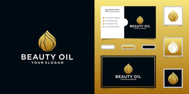 Beauty oil logo and female face template and business card