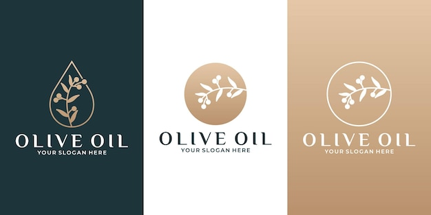 비즈니스 화장품 살롱 허브를 위한 황금색 뷰티 올리브 오일 브랜치 로고 디자인