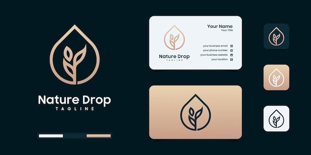 Дизайн логотипа оливкового масла красоты или капель. роскошный элегантный логотип для современного брендинга.